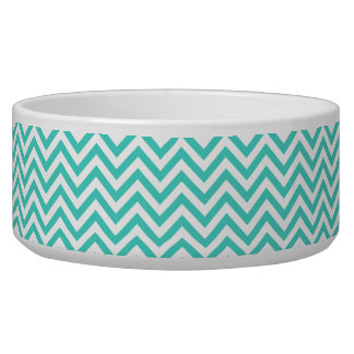 Teal Blue and White Zigzag Stripes Chevron Pattern