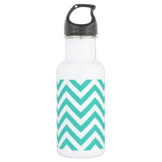 Teal Blue and White Zigzag Stripes Chevron Pattern 532 Ml Water Bottle