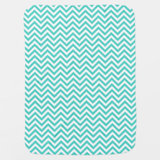 Teal Blue and White Zigzag Stripes Chevron Pattern Baby Blanket