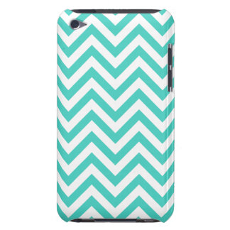 Teal Blue and White Zigzag Stripes Chevron Pattern Barely There iPod Covers