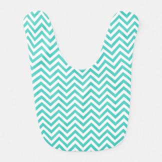 Teal Blue and White Zigzag Stripes Chevron Pattern Bib