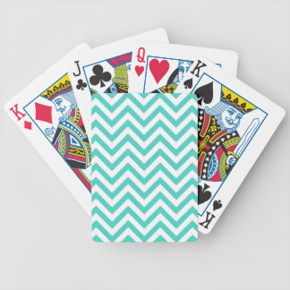 Teal Blue and White Zigzag Stripes Chevron Pattern Bicycle Playing Cards