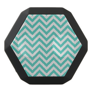 Teal Blue and White Zigzag Stripes Chevron Pattern Black Bluetooth Speaker