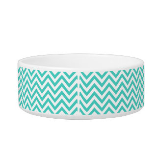 Teal Blue and White Zigzag Stripes Chevron Pattern Bowl