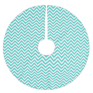 Teal Blue and White Zigzag Stripes Chevron Pattern Brushed Polyester Tree Skirt