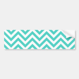 Teal Blue and White Zigzag Stripes Chevron Pattern Bumper Sticker