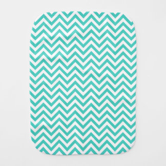 Teal Blue and White Zigzag Stripes Chevron Pattern Burp Cloth