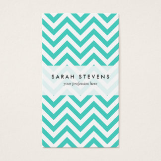Teal Blue and White Zigzag Stripes Chevron Pattern Business Card