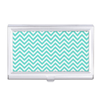 Teal Blue and White Zigzag Stripes Chevron Pattern Business Card Holder