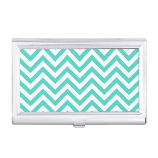 Teal Blue and White Zigzag Stripes Chevron Pattern Business Card Holders