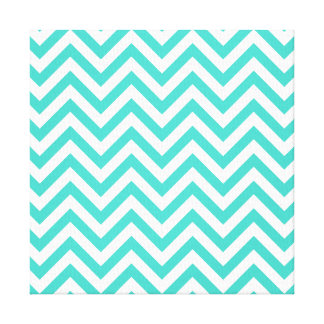 Teal Blue and White Zigzag Stripes Chevron Pattern Canvas Print