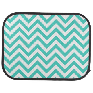 Teal Blue and White Zigzag Stripes Chevron Pattern Car Mat