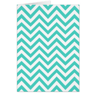 Teal Blue and White Zigzag Stripes Chevron Pattern Card