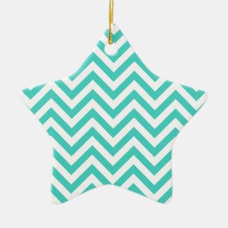 Teal Blue and White Zigzag Stripes Chevron Pattern Ceramic Star Ornament