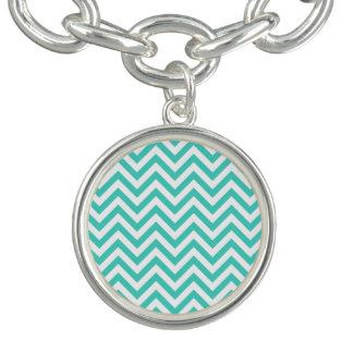 Teal Blue and White Zigzag Stripes Chevron Pattern Charm Bracelet