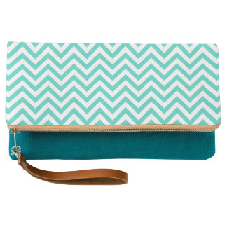 Teal Blue and White Zigzag Stripes Chevron Pattern Clutch