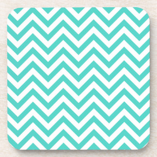 Teal Blue and White Zigzag Stripes Chevron Pattern Coaster