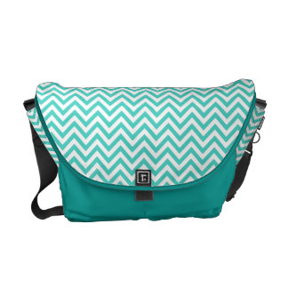 Teal Blue and White Zigzag Stripes Chevron Pattern Courier Bags