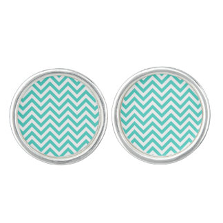 Teal Blue and White Zigzag Stripes Chevron Pattern Cufflinks