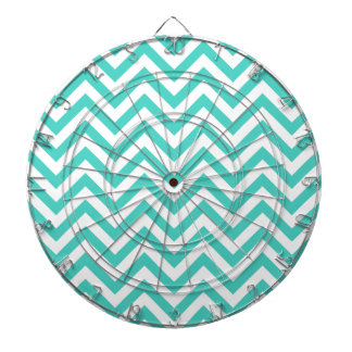 Teal Blue and White Zigzag Stripes Chevron Pattern Dartboard
