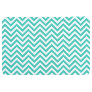 Teal Blue and White Zigzag Stripes Chevron Pattern Floor Mat