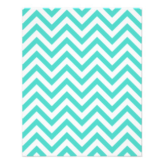 Teal Blue and White Zigzag Stripes Chevron Pattern Flyer