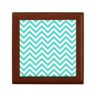 Teal Blue and White Zigzag Stripes Chevron Pattern Gift Box