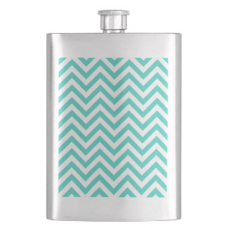 Teal Blue and White Zigzag Stripes Chevron Pattern Hip Flask