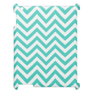 Teal Blue and White Zigzag Stripes Chevron Pattern iPad Case