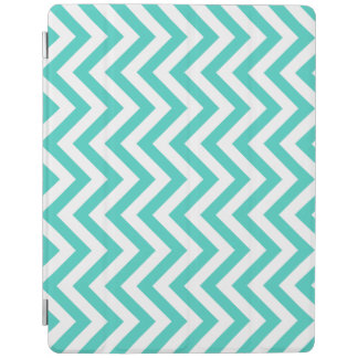 Teal Blue and White Zigzag Stripes Chevron Pattern iPad Cover