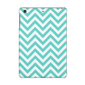 Teal Blue and White Zigzag Stripes Chevron Pattern iPad Mini Case