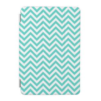 Teal Blue and White Zigzag Stripes Chevron Pattern iPad Mini Cover