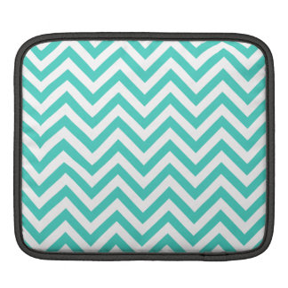 Teal Blue and White Zigzag Stripes Chevron Pattern iPad Sleeve