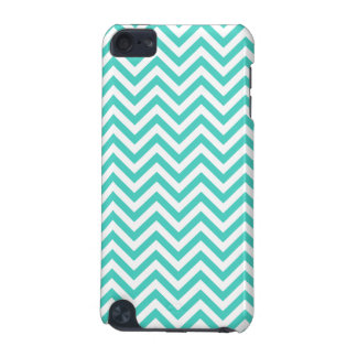 Teal Blue and White Zigzag Stripes Chevron Pattern iPod Touch (5th Generation) Covers