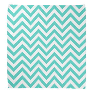 Teal Blue and White Zigzag Stripes Chevron Pattern Kerchief