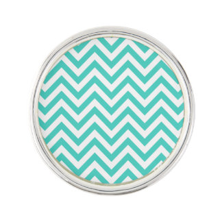Teal Blue and White Zigzag Stripes Chevron Pattern Lapel Pin