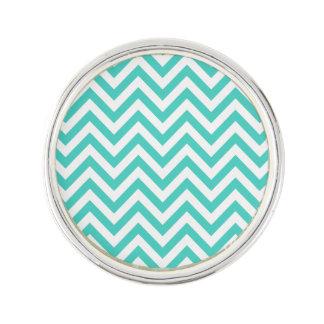 Teal Blue and White Zigzag Stripes Chevron Pattern Lapel Pin