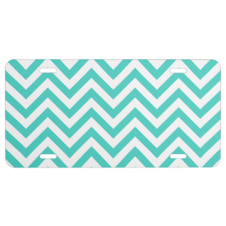 Teal Blue and White Zigzag Stripes Chevron Pattern License Plate