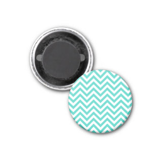 Teal Blue and White Zigzag Stripes Chevron Pattern Magnet