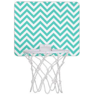 Teal Blue and White Zigzag Stripes Chevron Pattern Mini Basketball Hoop