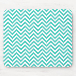 Teal Blue and White Zigzag Stripes Chevron Pattern Mouse Pad