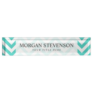 Teal Blue and White Zigzag Stripes Chevron Pattern Name Plate