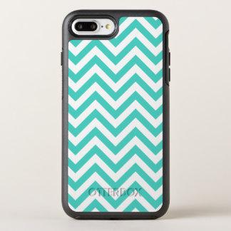 Teal Blue and White Zigzag Stripes Chevron Pattern OtterBox Symmetry iPhone 8 Plus/7 Plus Case