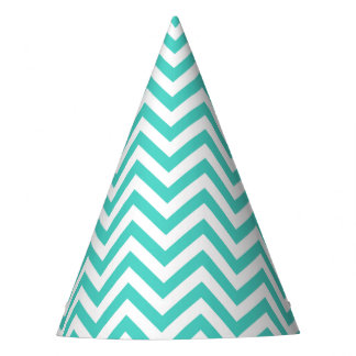 Teal Blue and White Zigzag Stripes Chevron Pattern Party Hat
