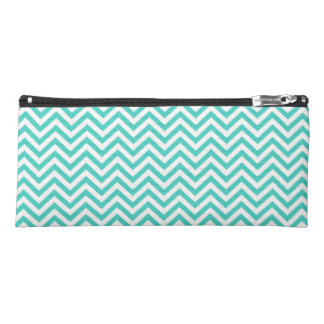 Teal Blue and White Zigzag Stripes Chevron Pattern Pencil Case