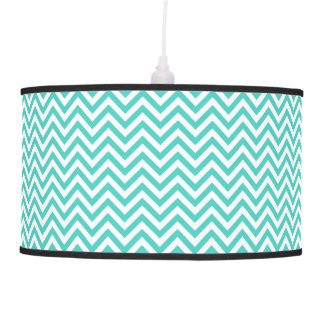 Teal Blue and White Zigzag Stripes Chevron Pattern Pendant Lamp
