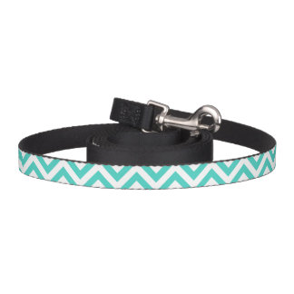 Teal Blue and White Zigzag Stripes Chevron Pattern Pet Leash