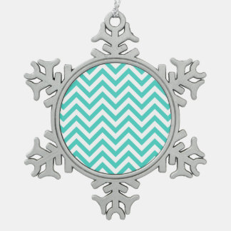 Teal Blue and White Zigzag Stripes Chevron Pattern Pewter Snowflake Ornament
