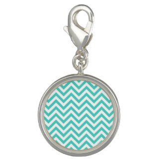 Teal Blue and White Zigzag Stripes Chevron Pattern Photo Charm