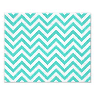 Teal Blue and White Zigzag Stripes Chevron Pattern Photo Print